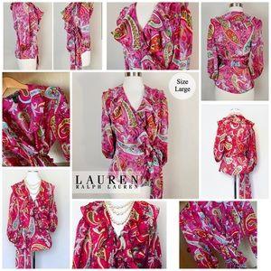 LAUREN by RL 100% Silk Paisley Floral Blouse EUC